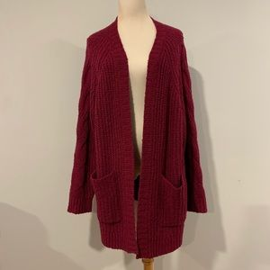 2/$30 American Eagle raspberry cable knit cardigan